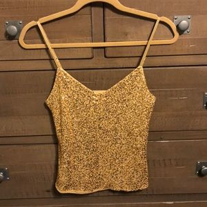 THE LIMITED Gold Sequined Tank